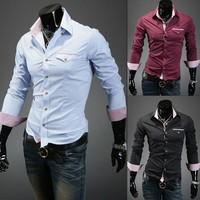 Free Shipping  Fashion Mens Shirts Casual Slim Fit Stylish Dress Shirts 5 colors black/blue/coffee/wine red/white  9026