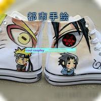 naruto Uchiha Sasuke Mangekyou sharingan Hand-painted shoes little boy colored drawing skateboarding shoes medium cut canvas