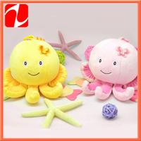 2 styles Shenzhen lovely plush shaking octopus,  plush rattle animal, plush hanging toy for kids