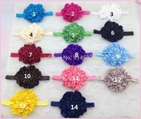 14 colors 50pcs/lot  ,Baby Elastic Headbands,soft stetch headband  colored Rosette Flower ,Satin Flower Cluster Headband
