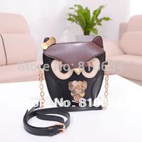 Free shipping !! 1pcs / Lot  HOT Sale Fashion Owl Design PU Leather Women Shoulder Bag Cross Body Bag For Woman Handbag