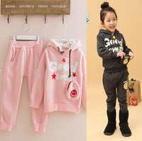 New 2013 winter kids grils boy GOOD brand sports smile fleece sweatshirt sets pink twinset hoodies sweater and pants 2 pcs