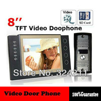 Luxury 8 inch Color Video door phone Intercom Take Picture Record Doorbell System Kit IR Camera