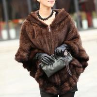 New Genuine Knitted Mink Fur Shawl Poncho Warp With Hood  Winter Mink Fur Jacket TPPM0002