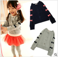 Free Shipping 2013 New Baby Girls Cardigan Sweater Coat Gilr's Autumn & Winter Bowknot Fleece Render Cute Girl Sweater LQ244