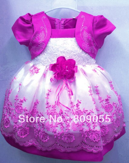 Free shipping 2013 HOT Selling Children Kids Clothing Girls Dresses Flower Design Princes Girls dress(China (Mainland))
