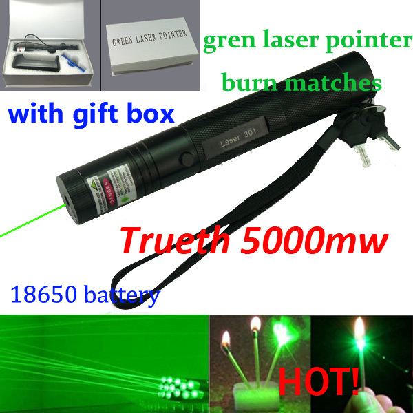 532nm professional powerful 5000mw 301 green laser pointer pen, lazer light with 18650 battery, focus burning wood matchs, Free(China (Mainland))