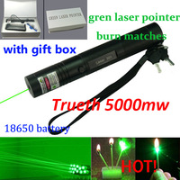 532nm professional powerful 5000mw 301 green laser pointer pen, lazer light with 18650 battery, focus burning wood matchs, Free