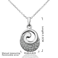 2014 High Quality!18K Gold Plated Shiny Insets Necklaces & Pendants Nickel Free Crystal Jewelry,Eas jewelry N611