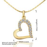 2014 Top Quality!18K Gold Plated Austria Crystal Heart Pendant Necklace women party jewelry,Wholesale jewelry N585