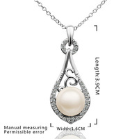 High Quality!18K Gold  Plated Fashion Charm Noble Crystal Pearl Pendants Necklaces Jewelry,Factory price N628