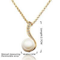 Fashion Pearl Pendant Necklace! Wholesale High Quality Fashion Women 18K Gold-Plated Jewelry N615