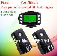 free shipping!for nikon pixel king pro wireless lcd TTL flash trigger &radio flash trigger for nikon (1transmitter & 2receiver)