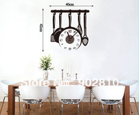 [listed in stock]-42*40cm(16.54*15.75in) DIY Modern Atr vegetableand cooker Wall Clock for Room Decor (wc1032)