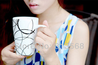 350ml porcelain coffee mug, 3 kinds of brief design coffee cup