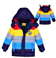Free Shipping New 2013 Fashion Baby Boys Striped Cotton-padded Jackets Girls Down Hooded outerwear Winter warm coat Kids