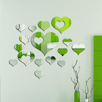 Free shipping 3d acrylic wall stickers mirror heart love fashion mirror sticker home decor for wedding room bedroom living room