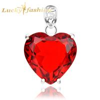 New Arrival Romantic Party Jewelry Marvelous Dangle Fire Garnet Heart Crystal Pendant