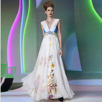 Dorisqueen wholesale 2014 new style dresses embroidery  v neck dresses prom special occasion dresses