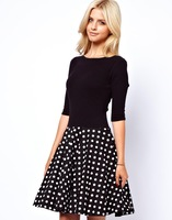 Freeshipping womens high elastic long sleeve dress with dot skirt patchwork for wholesale and dropship D0001