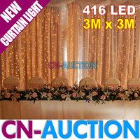 FS! 3Mx3M Curtain LED Lights 416 LEDs Lamp Background Decoration Lights for Christmas/Party/Wedding, 8Colors Option(CN-LHL9)