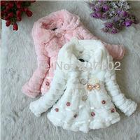 Retail Cute kids girl children baby winter outerwear luxury jacket pearl pendant outdoor coat with polar fleece 3 color