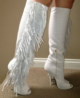 New Summer Boot for Women White Tassel Nubuck Leather Knee High Gladiator Heels Boots Open Toe