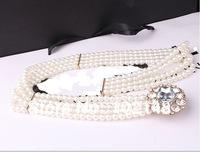 Women's Fashion ELASTIC Pearl & Rhinestone  Belt,  Dress Decoration Belt ,FREE SHIPPING YL019