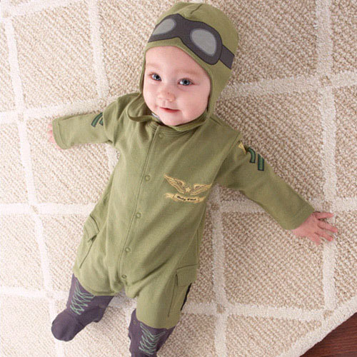 2013 new style baby rompers kids one-piece hoodies pilot design Jumpsuits children clothing sets cotton autumn wear free ship(China (Mainland))