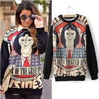 Free shipping, 2013 Autumn new Gorilla print couples men and women plus size  long sleeve loose t-shirt Hoodies Pullovers