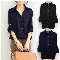 2014 ol long-sleeve shirt casual plus size clothing blouses  M-XXL free shipping XM-S8001
