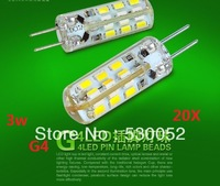 20pcs G4 3W SMD 3014 g4  corn Led Bulb Brightly For Parlour Bedroom Kitchen or Chandelier DC12V