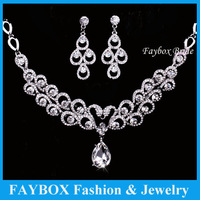 Wholesale price Luxury Crystal Top quality bride necklace earring Rhinestone Bridal jewelry set  wedding accessories women