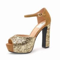 2014 new arrival European sytle high-heels shoes thick waterproof heels women pumps gunuine leather designer casual office heels