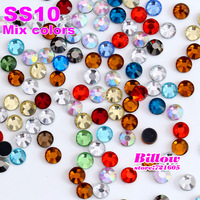 Mixed Colors ! over 20colors SS10 2.7-2.8mm,1440pcs/Bag DMC HotFix FlatBack with glue Rhinestones,Iron-on Hot Fix crystal stones