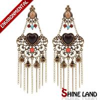 Silver Plated New Women Accessories Vintage Crystal Rhinestone Multicolor Beads Long Statement Tassel Drop Earrings Jewelry
