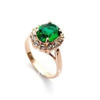 ZYR088 Emerald Green Crystal 18K Champagne Gold Plated Ring Jewelry Made with Genuine Austria SWA ELEMENTS Full Sizes Wholesale