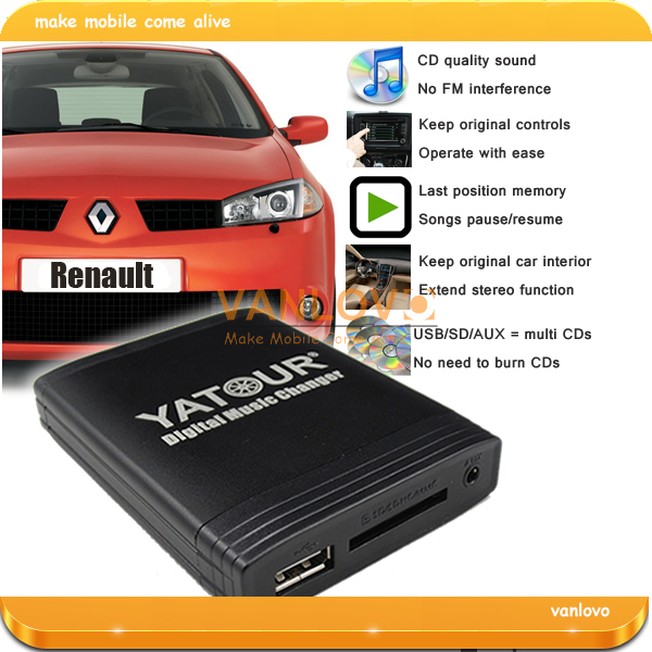 YATOUR Digital Music Changer AUX SD USB MP3 Adapter for Renault (Gift: 4GB USB flash drive)(China (Mainland))