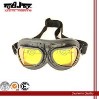 BJ-GT-005 Black Color goggles Glasses With yellow Lens WWII RAF VINTAGE PILOT MOTORCYCLE BIKER CRUISER HELMET