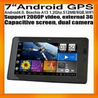 "7""Android4.0 Car GPS Navigation Capacitive Screen Dual Camera AV IN BoxchipA13 512MB/8GB WIFI 2060P 3G Free Map"