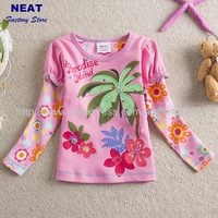 STAR  2013 new free shipping flower baby girls long sleeve t-shirts   embroidery bow  children clothing stripe kids wear L62112