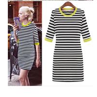 2014 New Fashion Chic Straight Dress Womens Stripe Pencil Dress Half Rolled up Sleeve Ladies Cozy Dress lyq109