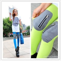 Fashion 2013 Spring Autumn Pants Elastic Slim Knee Zipper Legging Gladiator Pants Trousers