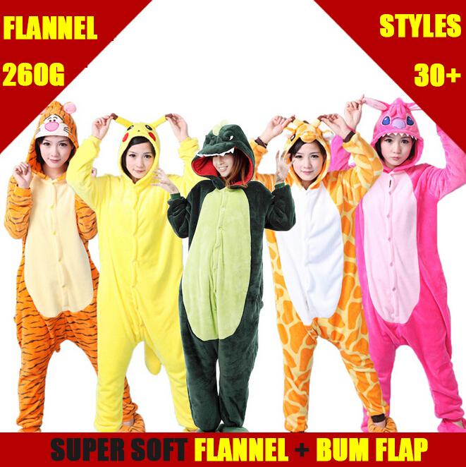 Hot Sale Adult Hooded Pajamas with Bum Flap Women & Men Super Soft Animal & Cartoon Warm Fleece Pijama Pyjama Halloween Presents(China (Mainland))