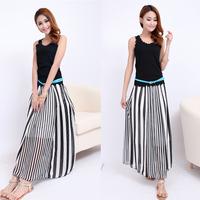 Casual Fashion Long Skirts Black White Irregular Stripes Maxi Chiffon Skirt Spring Bohemian Summer Beach Skirt Plus Size lyq03
