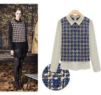 2014 autumn fall winter fashion women tops t shirt UK wind retro plaid item t-shirt brand design blouse for woman plus size
