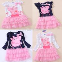 FREE SHIPPINGA 5pcs/lot Pink Cartoon Peppa pig yarn dress children dress yarns 100% cotton girls onepiece Long & short sleeve