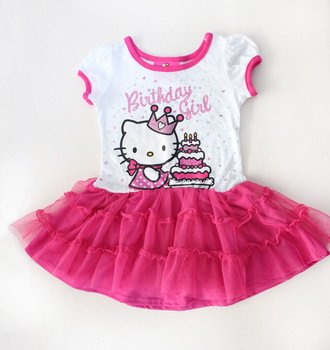 2013 New Arrive Hello Kitty Tutu Girl Dress,Yarn Cake Baby dresses Kids cartoon Hot Pink tulles dressFree Shipping