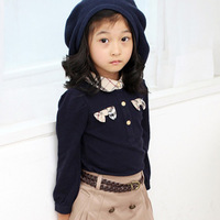 2013 spring autumn new female children clothing brand size 5 6 7 8 lot girls fashion college style long-sleeved shirt bottoming
