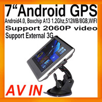 "Free Shipping Android4.0 GPS Navigator 7"" Free Map Boxchips A13 1.2Ghz AV IN FMT WIFI  Support 2060P Video External 3G 512MB/8GB"